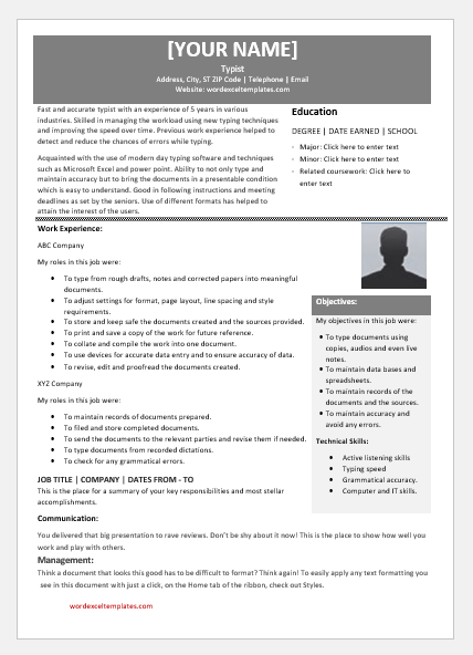 Typist Resume Templates For Ms Word Word Excel Templates