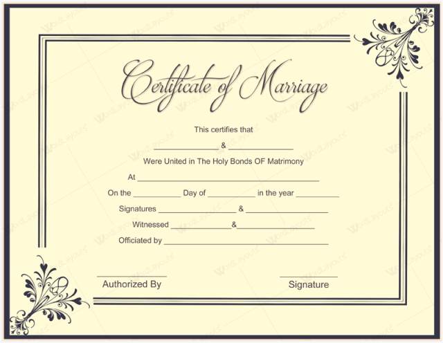 marriage certificate template microsoft word free download