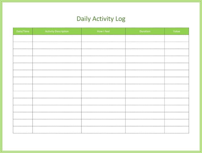 Daily Log Template daily task log template daily log sheet – Daily Task Log Template