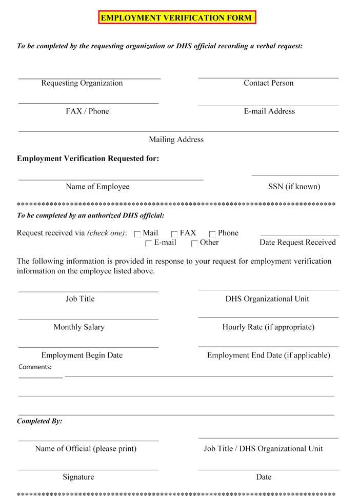 employment verification request form template
