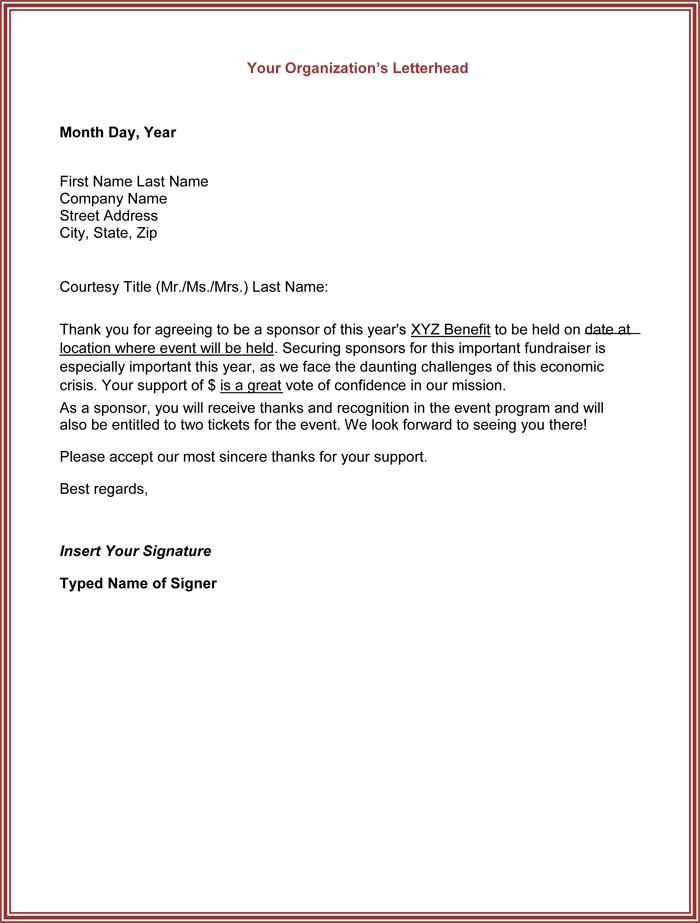 Sponsor Thank You Letter Sponsor Thank You Letter Sample Sponsor