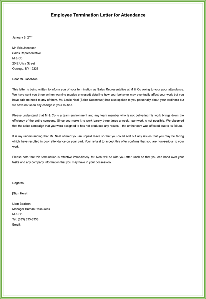 employee termination letter sample pdf