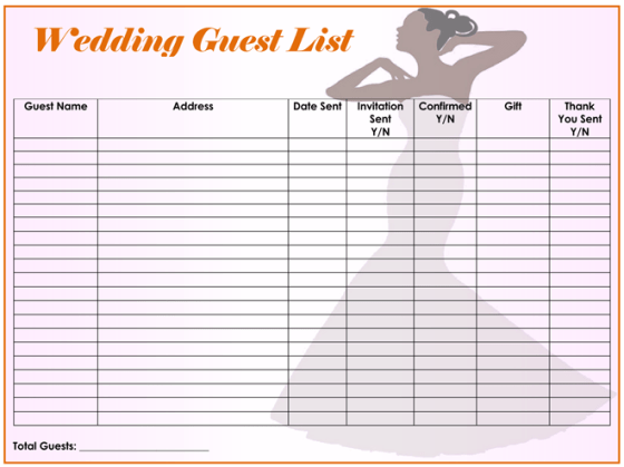 Printable Wedding Guest List Template Wedding Invitation Sample – Free Wedding Guest List Template