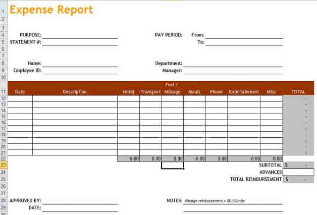 expense report template 11