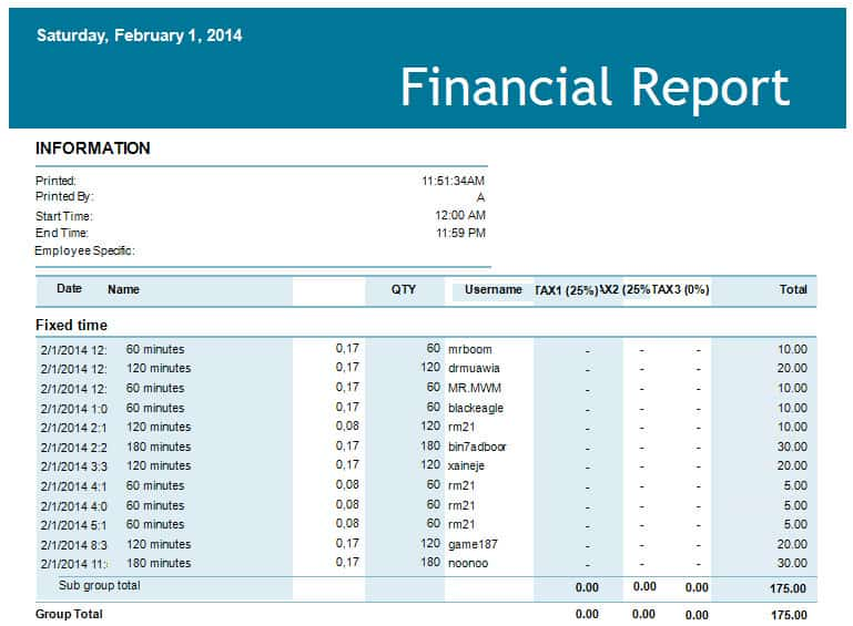 finance report templates