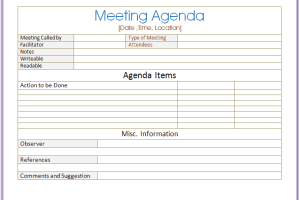 quarterly meeting schedule template