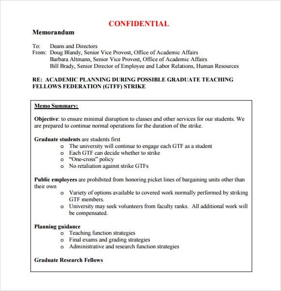 7 Memo Templates - Excel Pdf Formats