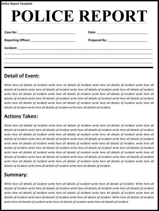 police report template 11