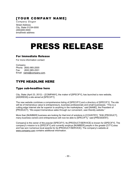 9 press release templates free sample example format free media – Letter of Release Template