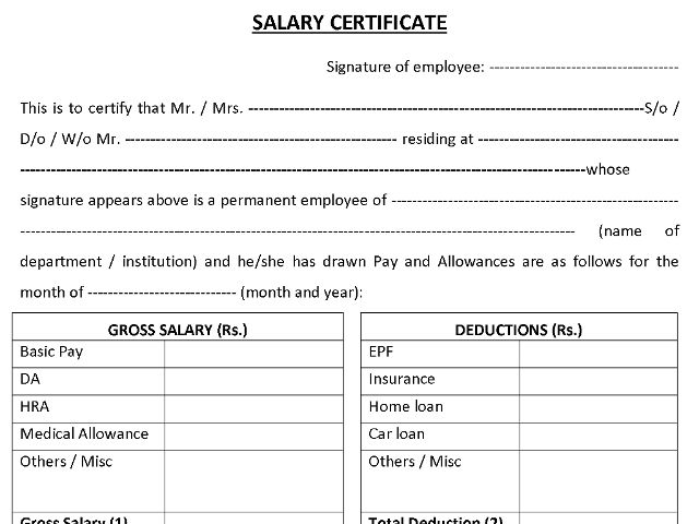 salary certificate template 11