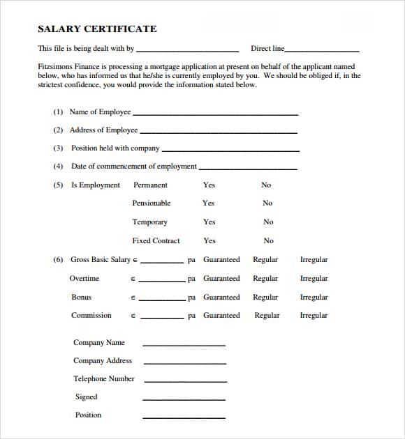 salary certificate template 22
