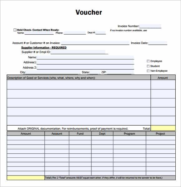 7 Voucher Templates - Excel Pdf Formats