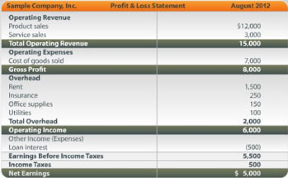 Profit and Loss Statement 154