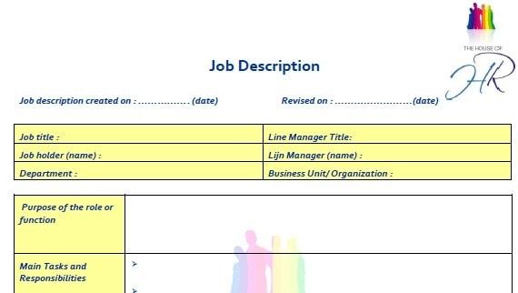 4 Job Description Templates Excel PDF Formats – Template for a Job Description