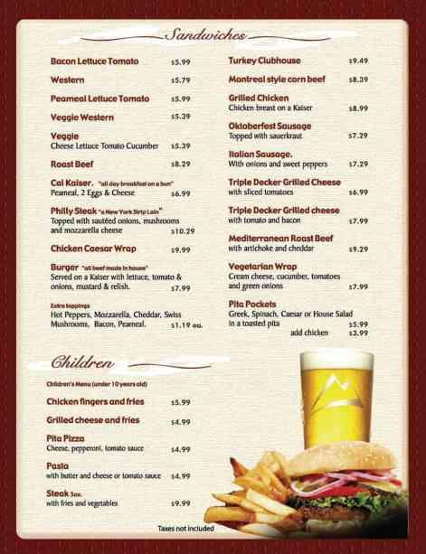 menu template 5254