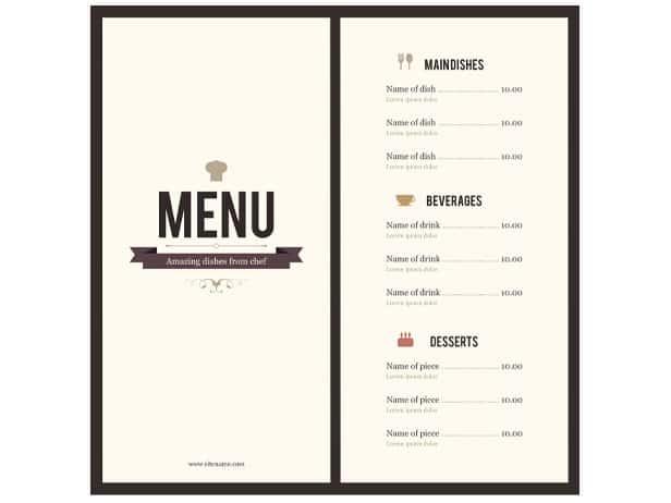 menu template 554
