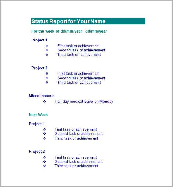5 Status Report Templates - Excel Pdf Formats