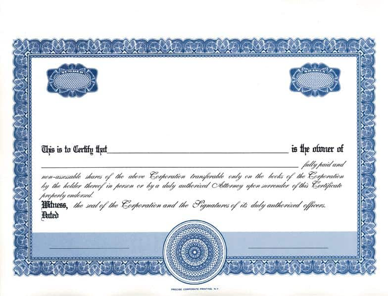Blank Stock Certificate Template. 7 best images of downloadable ...