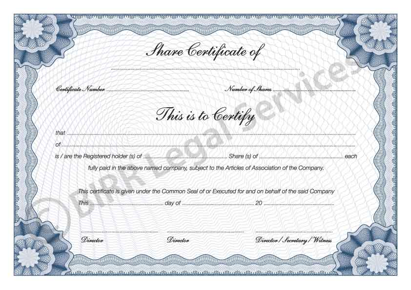 Shareholder Certificate Template corporate stock share – Stock Share Certificate Template