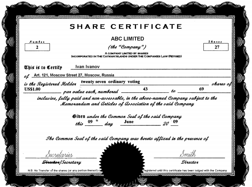 Shareholder Certificate Template corporate stock share – Shares Certificate Template