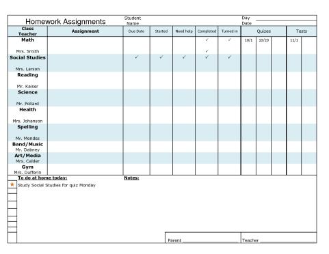 Homework Sheet Template | homework template 5871