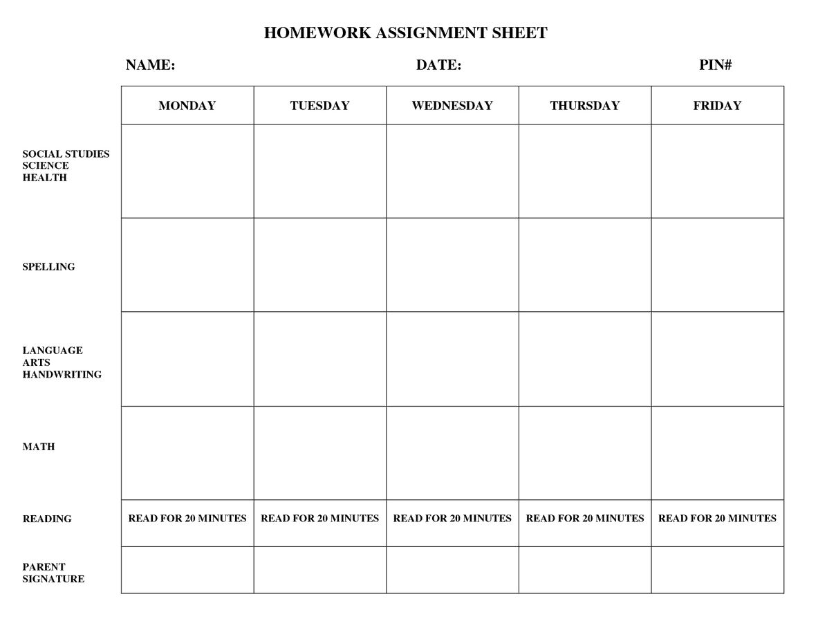 this is a free weekly homework sheet template pinterest
