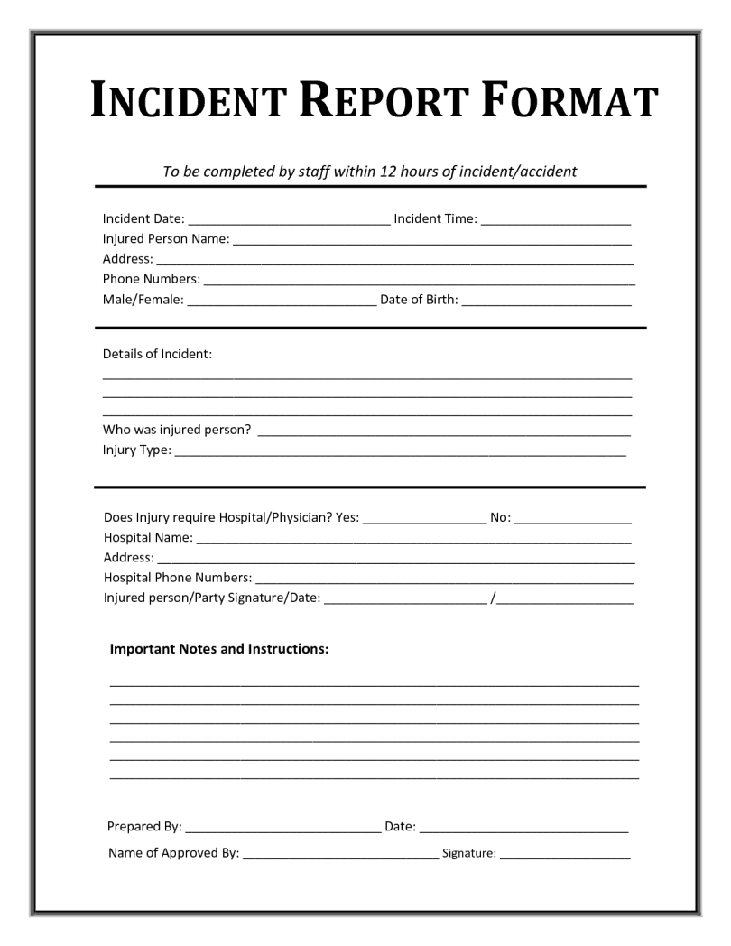 Incident Report Template| Incident Report | All Form Templates