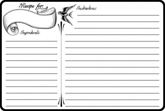 recipe card template 5421