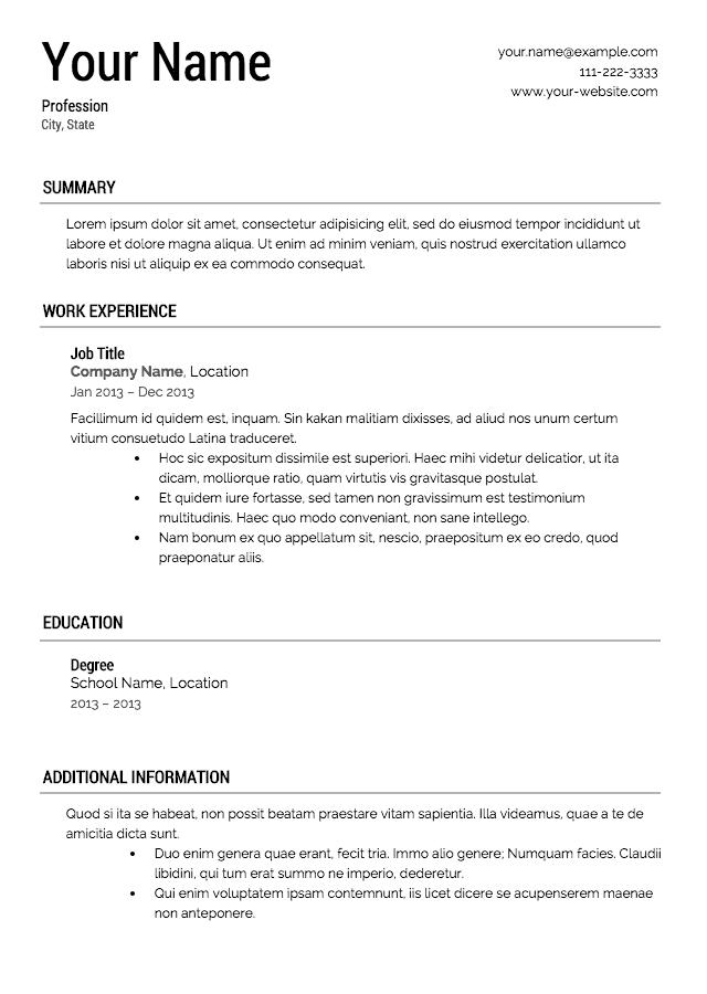 Professional Resume Templates 2013