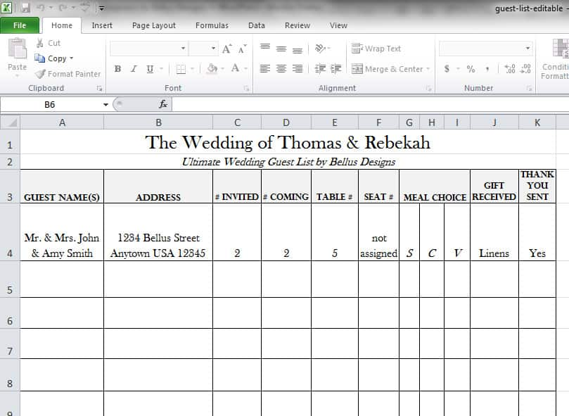 mailing list template excel