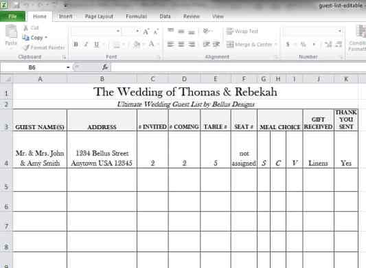 wedding gust list template 9798