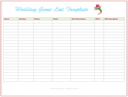 wedding gust list template 98787
