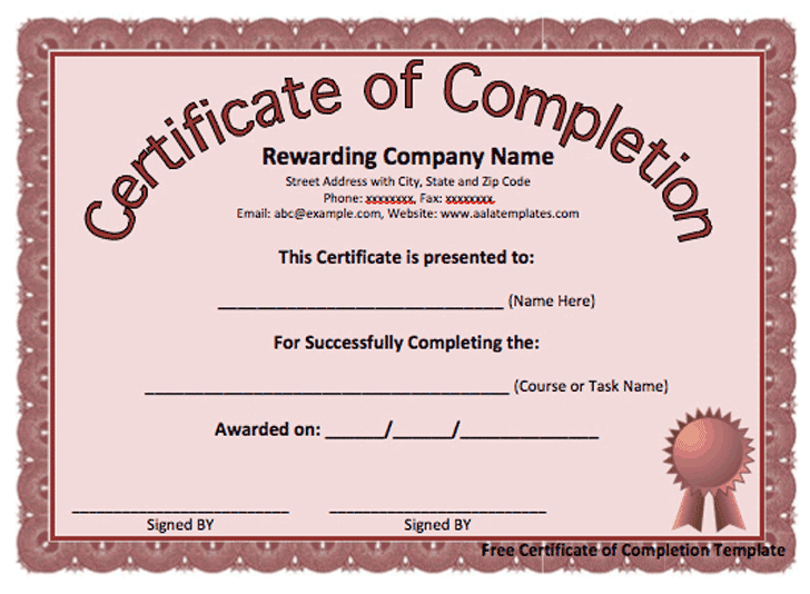 Certificate Of Completion Template 9854  Certificate Of Completion Free Template