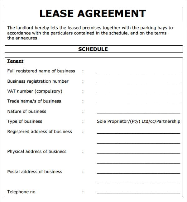 Free Commercial Lease Template free business lease form free – Simple Commercial Lease Agreement Template