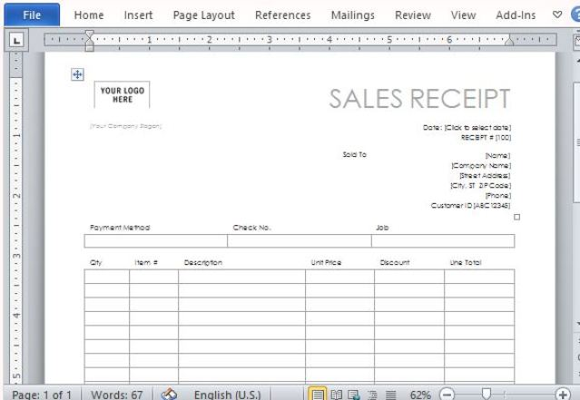 Sales Receipt template 8778