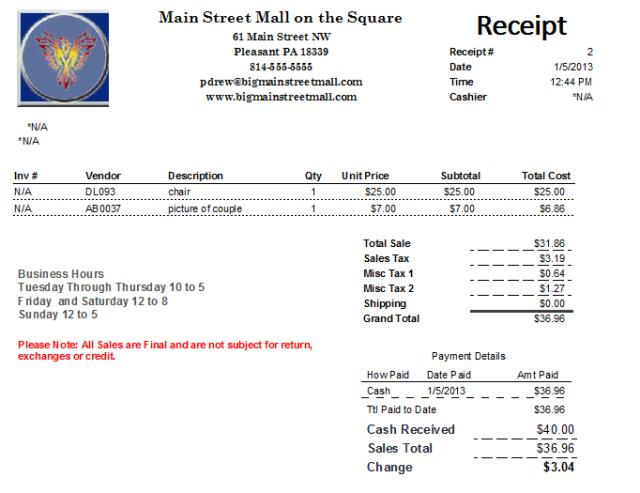 Sales Receipt template 988