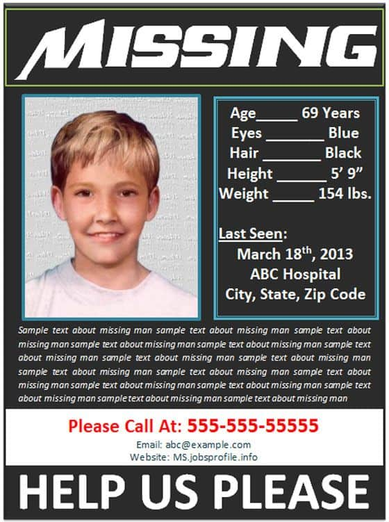 missing person poster template 2558 go back gt gallery for gt – Missing Poster Generator