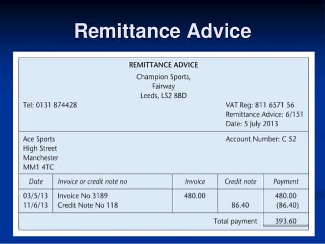 remittance advice template free template for personal information