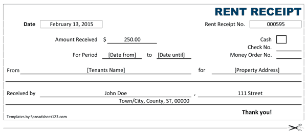 rent receipt template 2365