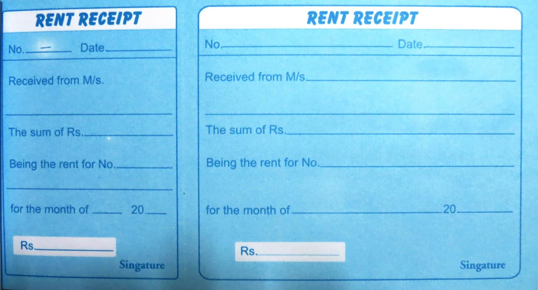 house rent receipt format india