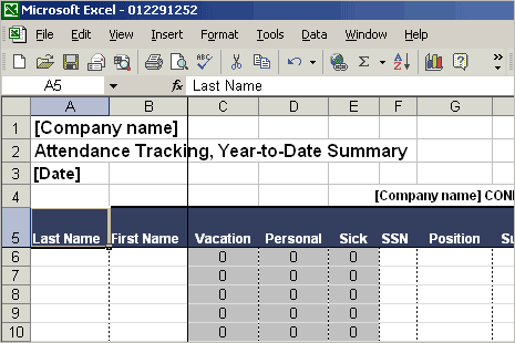 tracking attendance in excel