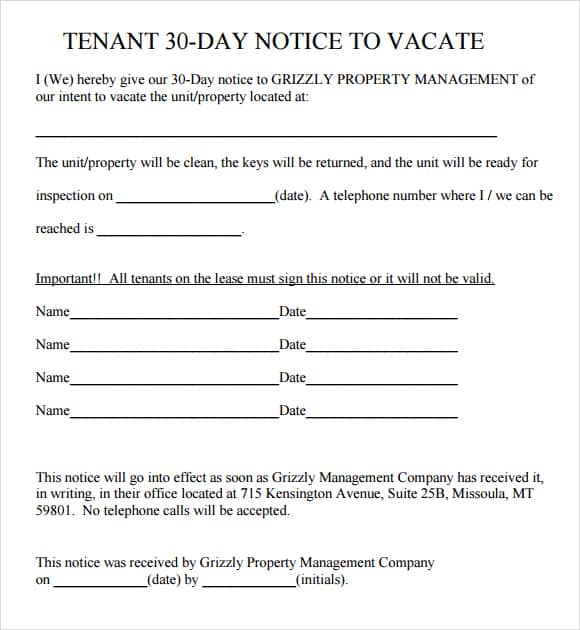 30 Days Notice For Eviction Templates  Notice To Vacate Property Template