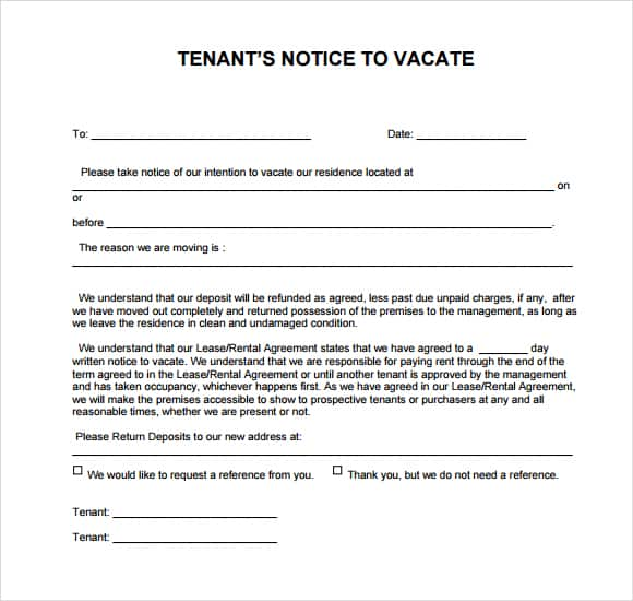Notice To Vacate Template 30 Day Notice To Landlord Sample Sample