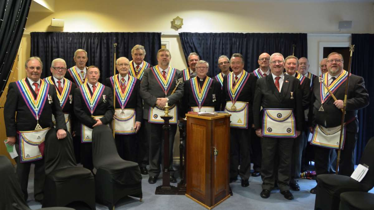 Members of Middleton RAM 1303 with the Deputy Provincial Grand Master John Hartley Smith and visitors from across the province of East Lancashire