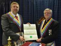 W.Bro David John Halford presents RAM Grand Lodge Certificate to his son Bro. Christopher David Halford
