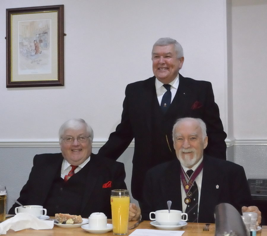 The Assistant Provincial Grand Master David Hedley Thompson with WBro Gregory John Casson WM