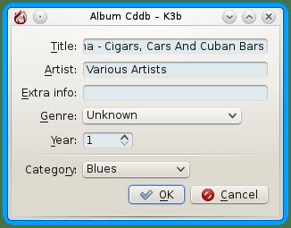 k3b Edit Album Info