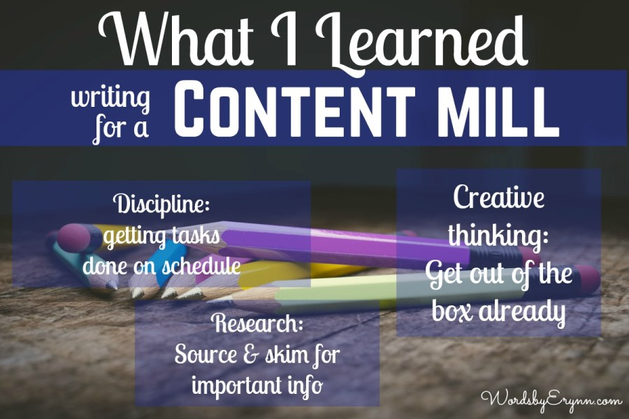 Today I'm going to share what I learned from writing for a content mill. Also, I'll share why I don't recommend trying it yourself! WordsbyErynn.com