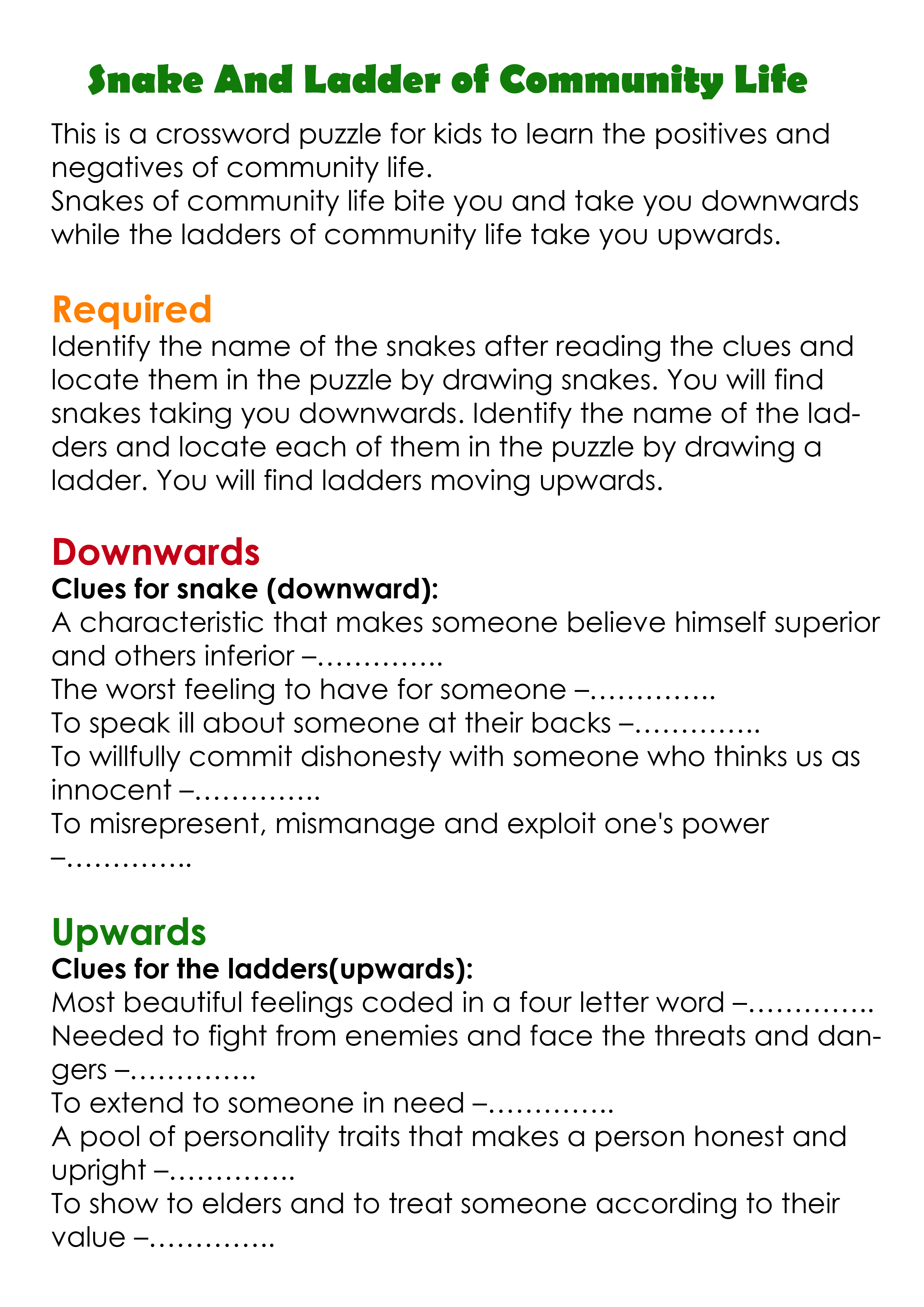 Snake Ladder Of Community Life Printable Activity Words