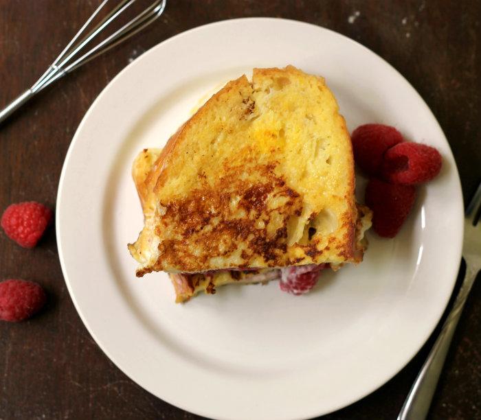 Raspberry Cream cheese stuffed French Toast